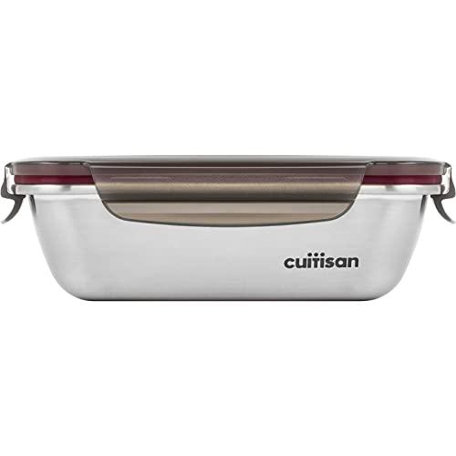 CANDL Cuitisan (Flora) recipiente hermético de acero inoxidable con tapa de clip, apto para microondas + horno, rectangular, recipiente para alimentos, EC7-SS05, (18,4cm x 13,0cm x 6,0cm / 580ml)
