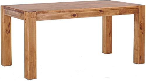 Brasilmöbel Esstisch Rio Kanto 200x100 cm Brasil Pinie Massivholz Größe und Farbe wählbar Esszimmertisch Küchentisch Holztisch Echtholz vorgerichtet für Ansteckplatten Tisch ausziehbar