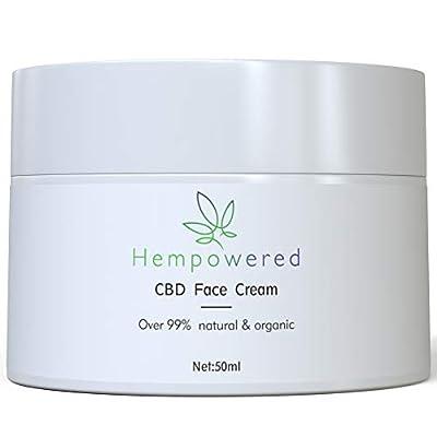 Hempowered Hemp & CBD Face Cream - Premium Grade Face Moisturiser for Fine Lines, Dark Circles, Anti-Wrinkle, Anti-ageing, Natural & Organic, for All Skin Types 50ml by Hempowered Cosmetics Limited