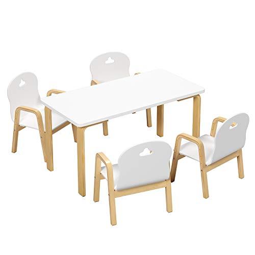 Homfa Kindertisch mit 4 Stühlen höhenverstellbar Kindersitzgruppe Kindertischgruppe Kinderschreibtisch Eiche weiß