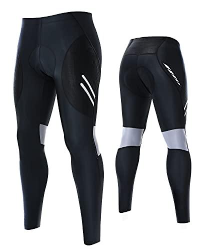 Fahrradhose Herren Lang Radlerhose Herren Lang Fahrradhose, Kompression Radhose Leggings Radsport Hose für Männer Elastische Atmungsaktive 3D Schwamm Sitzpolster, L