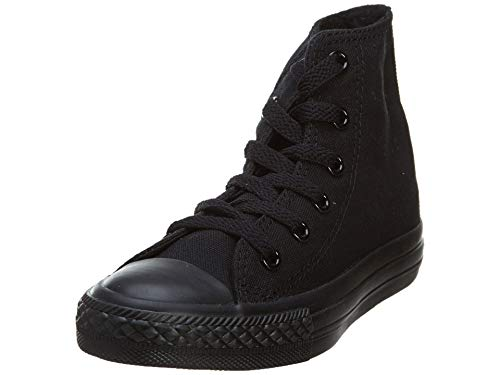 Converse Unisex-Baby Chuck Taylor All Star Canvas High Top Sneaker, Black Monochrome, 3 M US