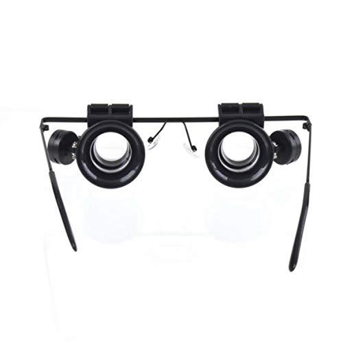 Rouku Resina Ligera y plástico Relojes de Doble Ojo Reparación Microscopio Herramientas Gafas Tipo 10X Reloj Reparación Lupa con luz LED
