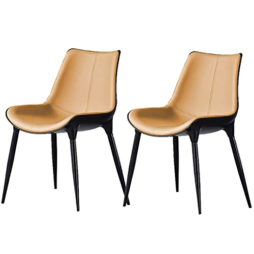 VEESYV Juego de 2 sillas de comedor modernas de piel con respaldo, asiento acolchado suave para oficina, salón, comedor, cocina, dormitorio, color beige