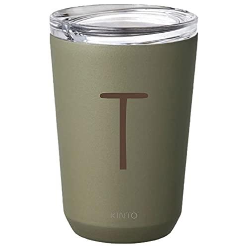[名入れ無料] KINTO キントー トゥーゴータンブラー 360ml TO GO TUMBLER 刻印 ギフト プレゼント グラス コップ マグ タンブラー (イニシャル(ボールド), カーキ)