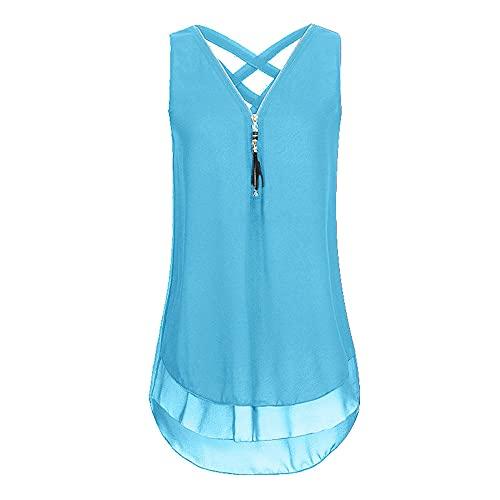 Tops Mujer Verano Cremallera Decoración Gasa Escote En V Destacado Diseño Espalda Mujer Camiseta Sin Mangas Ocio Temperamento Transpirable Mujer Camisa K-Blue M