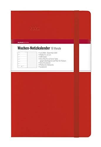 Wochen Notizkalender 18 Monate groß Red 2021 - Taschen-Kalender 13x21 cm - mit Verschlussband & Falttasche - Juli 2020 bis Dez 2021 - Weekly - 128 Seiten