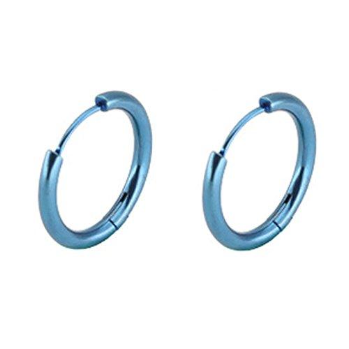 Daesar Pendientes de Hombre Mujer Pendientes Acero Inoxidable Pendientes Ancho 2.5MM Pendientes de Aro Pendientes Para Mujer Hombre 1 Par Azul 16MM