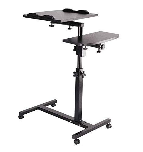 Mobile Standing Desk, Rolling Ajustable Computer Desk, Mobile Computer Workstation Adjustable Desks for Home Office for Stand Up, Black