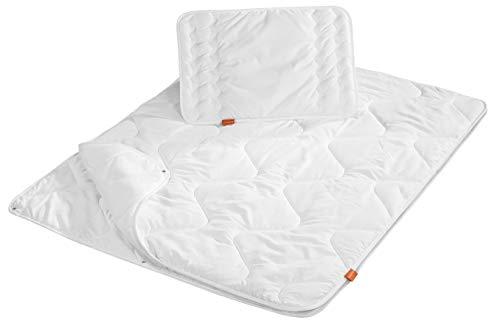 sleepling 194479 Baby Babybetten Set 4-Jahreszeiten Decke 100 x 135 cm und Flachkissen 40 x 60 cm, weiß