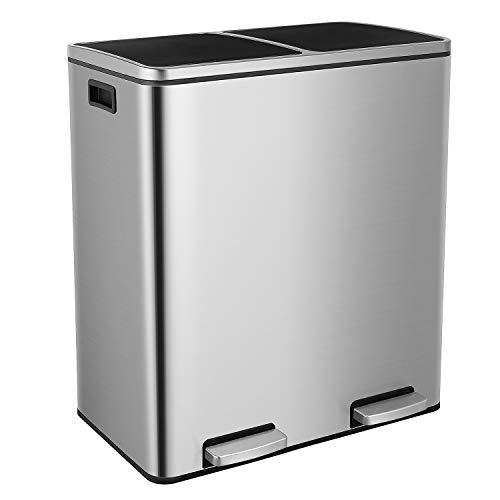 Dual Step Trash Can, 16 Gallon (60L) Classified Recycle Garbage Bin, 2 x 30L Fingerprint Proof Stainless Steel Rubbish Bin with Plastic Inner Buckets and Hinged Lids
