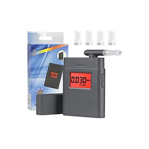 Híbido Alcoholímetro, LED Pantalla Digital portátil de Alcohol en el Aliento probador con 5 boquillas for los Conductores o del hogar, Alarma de Sonido, Pantalla de Temperatura Actual