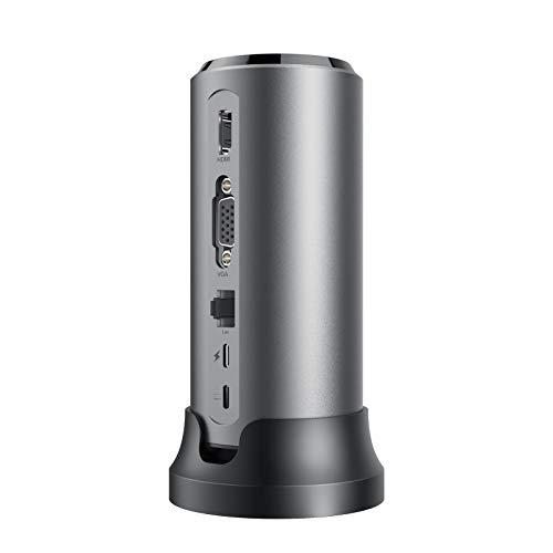 USB C Docking Station, uni 12-in-1 USB C Hub mit abnehmbarem Stecker und Basis, Unterstützt 4K HDMI, 1080P VGA, 1000 Mbps, 85W PD, 1X USB-C 3.1, 3X USB-A 3.1, Kompatibel mit MacBook Pro u.s.w