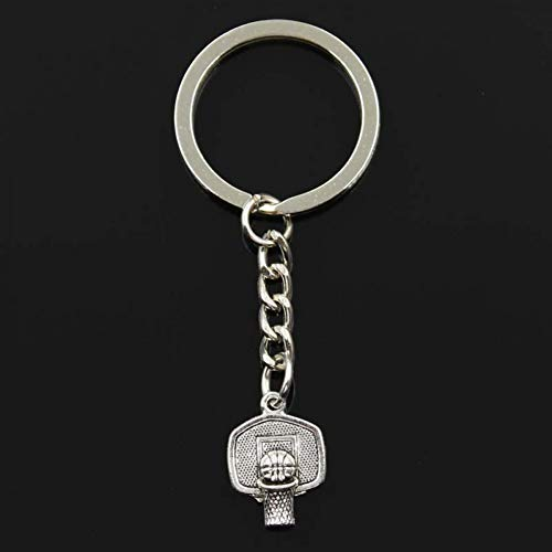 HUIQING Fashion Keychain 20X15Mm Basketball Hoop Pendants Diy Men Silver Color Car Key Chain Ring Souvenir For Gift