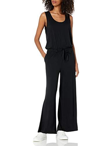 Amazon Essentials Sleeveless Scoop-Neck Wide-Leg Jumpsuit Overall, Schwarz, S