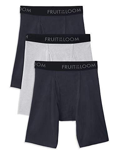 Fruit of the Loom Men's Breathable Underwear, Cotton Mesh - Assorted Color - Long Leg Boxer Brief, Small