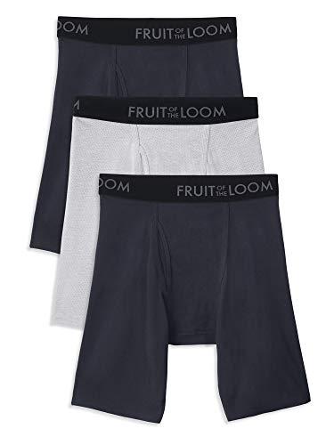 Fruit of the Loom Herren Breathable Underwear Slip, Boxershorts mit Langen Beinen – Baumwoll-Netz, 3er-Pack, X-Large