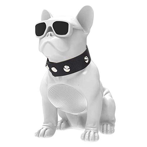 USB Bulldog Bocina Bluetooth, Perro Rubory Multifuncional Altavoz De Recarga, Anti-Caída Cabeza De Perro Adornos Altavoz, Cumpleaños Día De San Valentín Navidad Regalo ( Color : White , Size : Large )