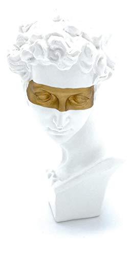 Perfekto24 Deko-Figur David – Moderne Skulptur in weiß (15cmx7,5cm) – edle Dekoration ideal für Glas-Vitrine, Regal, Kommode, Deco-Tisch & Fensterbank