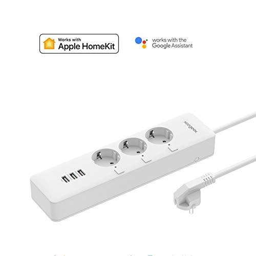 Koogeek Regleta WI-FI Inteligente con 3 enchufes USB y mando a distancia para Alexa, Apple, HomeKit y Google Assistant para Android y IOS (2) 3000 W