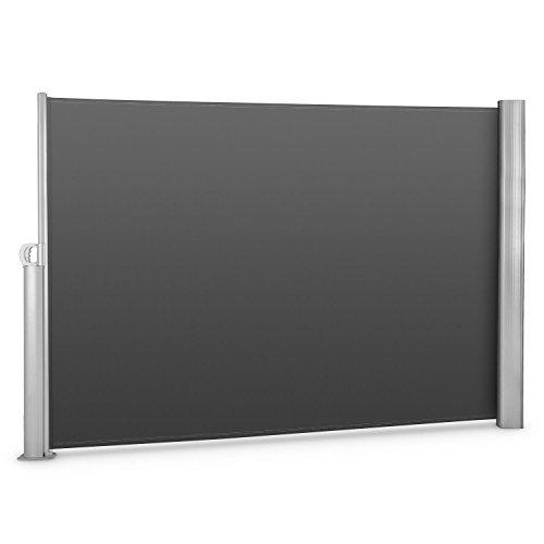 blumfeldt Bari 320 - Seitenmarkise, Standmarkise, Seitenrollo, Sichtschutz, Sonnenschutz, Polyester, ausziehbar, wasserabweisend, UV-beständig, pulverbeschichtet, anthrazit