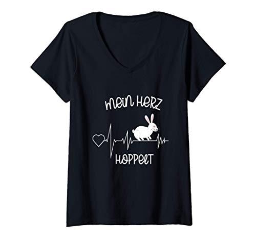 Damen Mein Herz Hoppelt | Süßer Hase Herzschlag Kaninchen T-Shirt mit V-Ausschnitt
