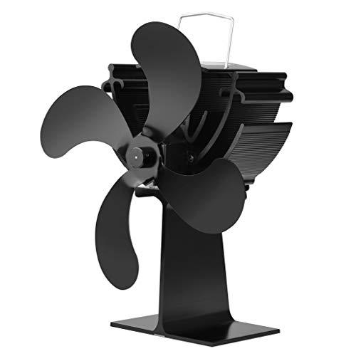 MISHITI Stufa a Legna Ventilatore Ecologico a 4 Lame Bruciatore a Legna Alimentato a Calore Soffiatore per Camino Ultra Silenzioso Nessuna Batteria o elettricità