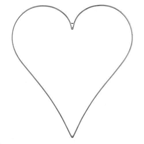 TGG Metallrahmen-Herz spitz, weiß/grau, groß bis Big 50cm/ 70cm 100cm !!! (klein 50x43cm !!!)