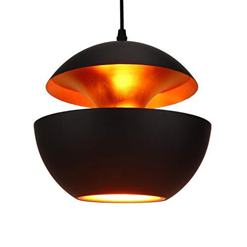 Lightess Lampada a Sospensione Vintage Lampada da Soffitto Retrò Lampada Industrial E27 Edison Metallo Illuminazione per Cucina Hotel Sala da Pranzo Camera da Letto Bar Ristorante, Nero e Oro