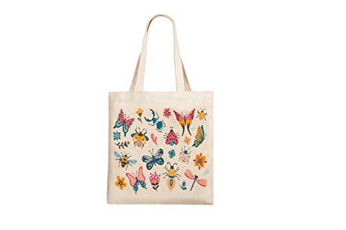 Canvas Minimalist Tote Bag with Interior Pocket/Book bag/Reusable Grocery Bag (Bugs)