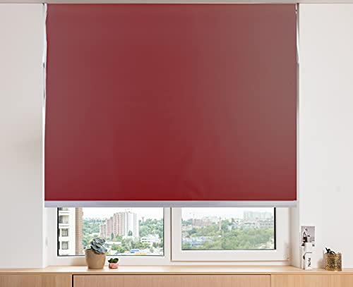ZAGON-Estor Enrollable 150x180cm-persiana Enrollable-translucido-Cortina Plegable Ajustable a la Ventana-Estor para Cocina-habitacion-Sala de Estar-facil colocacion-Color Rojo/Burdeos