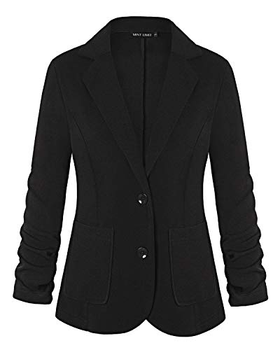 MixMatchy Women's Solid Print Waist Length Open Front Collarless Blazer Jacket [ Made in USA ] Black L