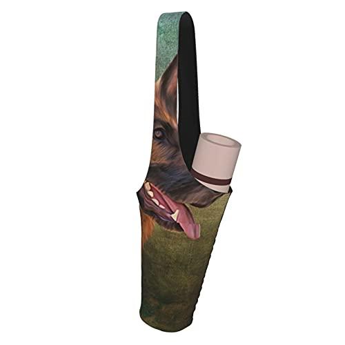 Fodmua Bolsa de transporte para esterilla de yoga con diseño de pastor alemán, compatible con la mayoría de alfombrillas de tamaño