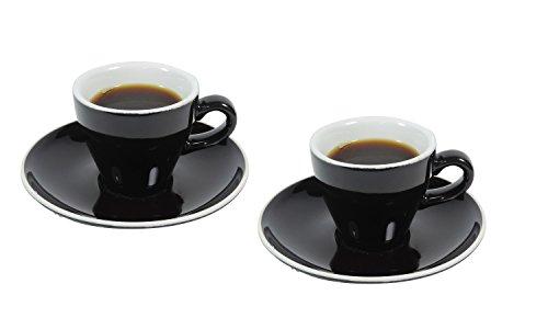 2 x dickwandige Espressotasse aus Porzellan, 2er Set 90 ml Tasse für Espresso in Schwarz/Weiß