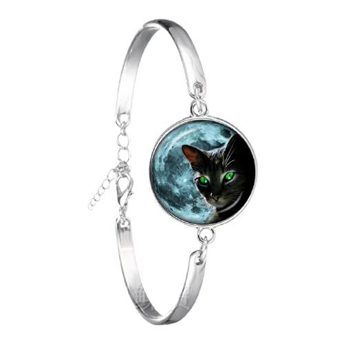 Pulsera única de cristal cabujón chapado en plata, diseño de gato negro vintage pulsera brazalete para mujeres hombres regalo