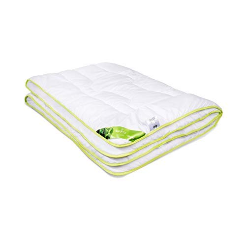 Bambus Decke   Premium Bettdecke   Frühling Bamboo Schlafdecke   für Allergiker   Atmungsaktiv Steppdecke   top Qualität   bis 60ºC waschbar   weiß   Senpo (155x200cm)