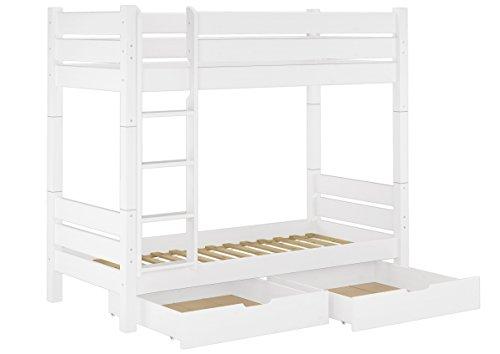 Erst-Holz® Etagenbett für Erwachsene weiß 90x200 Nische 100 teilbar Rollrost 2 Bettkästen 60.16-09WT100S2