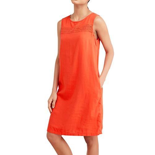 Damen Kleider Sommer O Ausschnitt Kurzarm Sexy Hohe Taille Strandkleid Jeanskleid Kleid Großer Größe Kleid Baumwolle Polyester Strand Bedruckt Partykleid Cocktailkleid (EU:42, Orange)
