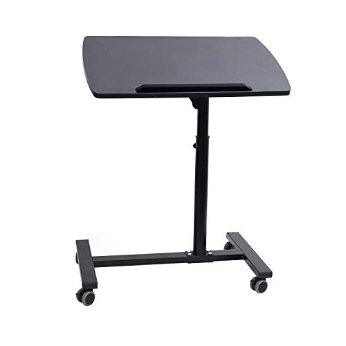 Callas Portable Height Adjustable 360° Swivel Laptop Notebook Desk Table Stand Holder Home Office PC Computer Mobile Laptop (with Wheels   Color-Black   CA-02_1)