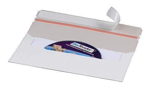 KK Verpackungen® Briefumschläge für CD & DVD aus Vollpappe | 100 Stück, Versandtaschen mit Selbstklebestreifen in DIN lang | Kuvert aus Pappe mit Aufreißfaden