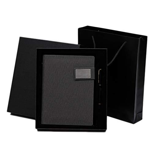 hsj WDX- Business - Cuaderno de hojas sueltas (A5, de piel gruesa, extraíble, diseño retro, color gris oscuro)