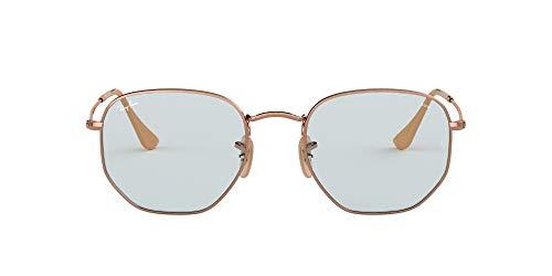 Ray-Ban RB3548N Evolve Flat Lens Hexagonal Sunglasses, Copper/Light Blue Photochromic, 51 mm