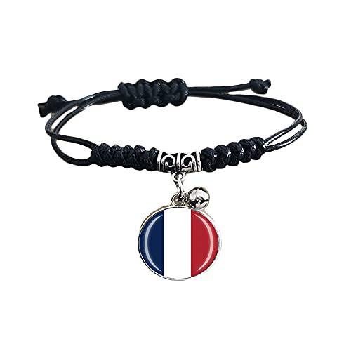 Pulsera trenzada de la bandera de Francia con cadena de nailon ajustable, pulsera de cristal, hecha a mano para hombre y mujer