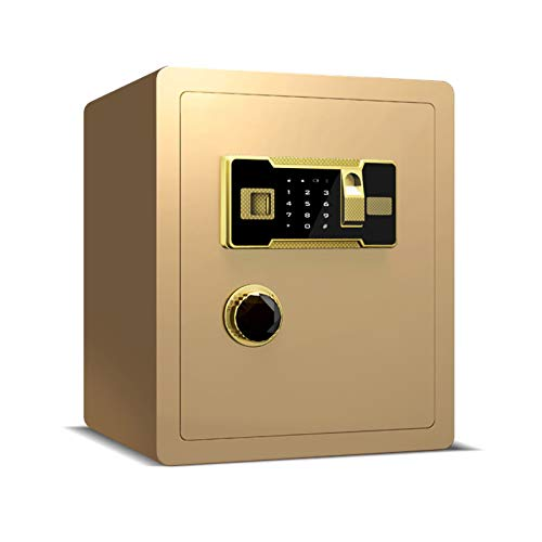 ZLSANVD Home Office Digital Fingerprint Electronic Safe Box High Security Steel Lock Safes Heavy Duty Compact Safe for Jewelry Money Cash Safety Box (Color : Gold)