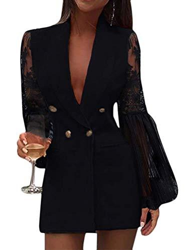 Onsoyours Donna Abito Blazer Elegante Giacca Ufficio Elegante A Maniche Lunghe con Scollo A V Abito Slim Fit Bottoni Abbinati A Mini Camicie Glitterate Dress C Nero L