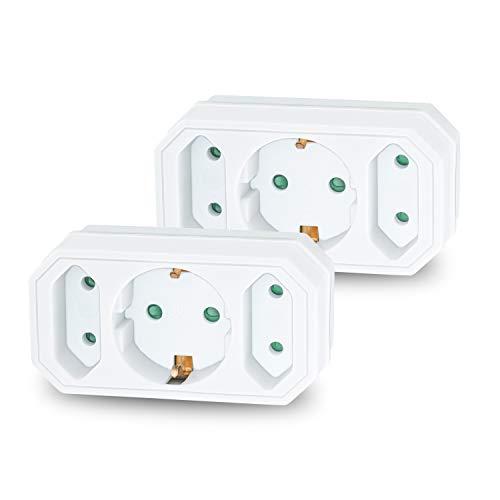 benon 2X Mehrfachstecker Weiß - Steckdosen-Adapter mit Kindersicherung - Doppelstecker 3500W - 3Fach Multistecker - 2X Euro- und 1x Schuko - Mehrfachsteckdose