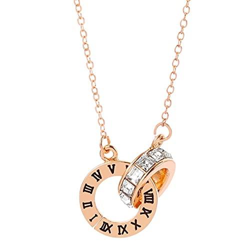 YANGYUE Collar Circular de Cristal con números Romanos con Doble Hebilla para Mujer, Collar de clavícula Elegante de Lujo para Mujer, Colgante, joyería