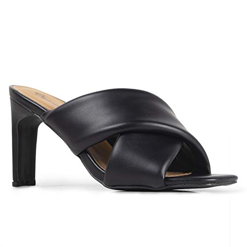 Qupid Kaylee Mules for Women - Black Faux Leather Slip On Heeled Sandals - 7