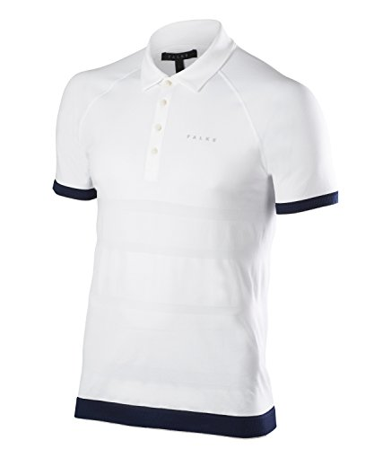Falke 37841 Polo Homme, Blanc, FR : L (Taille Fabricant : L)