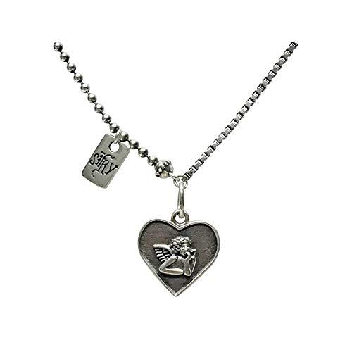 Dames-925 zilveren hanger, persoonlijkheid schattige amor eroshoofd liefde kaart vorm charm hanger ketting voor dames vakantie geschenk kerst geschenk sieraden geschenk